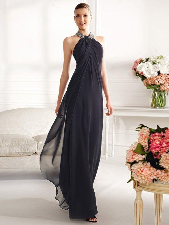 elegante neckholder abendkleider schwarz a-linie chiffon