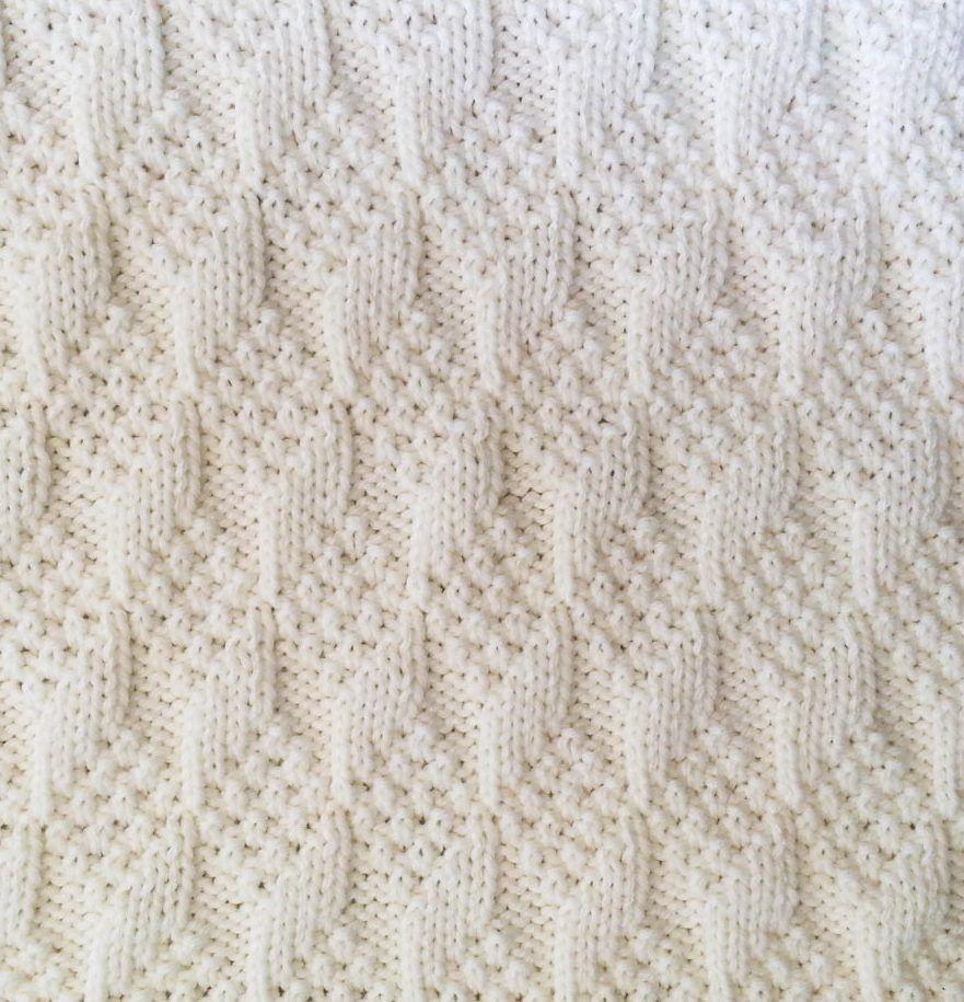 Knitting Pattern for Textured Baby Blocks Reversible Baby Blanket ...