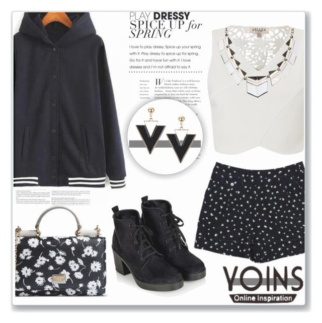 """""""Yoins- Navy Hoodie (Contest with prize)"""" by sherri40 ❤ liked on Polyvore featuring Marc by Marc Jacobs, Lipsy, Topshop, Dolce&Gabbana and yoins"""