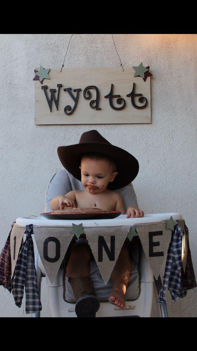 Cowboy Themed First Birthday Cake Smash Wyatts 1st Birthday