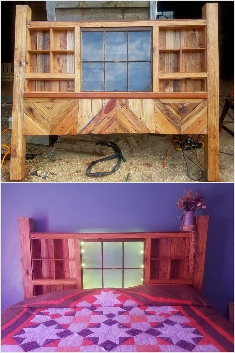 Window headboard ideas  reshaping ideas for old wooden pallets  wood pallet headboards