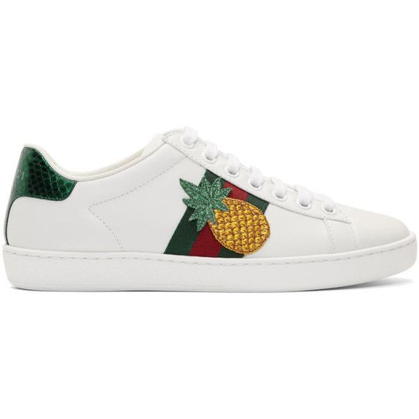 Gucci White Pineapple Ace Sneakers 605 Liked On Polyvore Featuring Shoes Sneakers Wh White Leather Shoes White Gucci Shoes Womens Fashion Shoes Sneakers