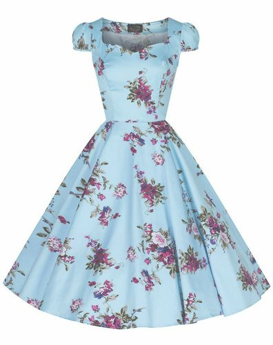 c698209c5f4ac Flaunt your inner pinup with this beautiful tea-length Royal Roses Sky Blue  Swing Dress