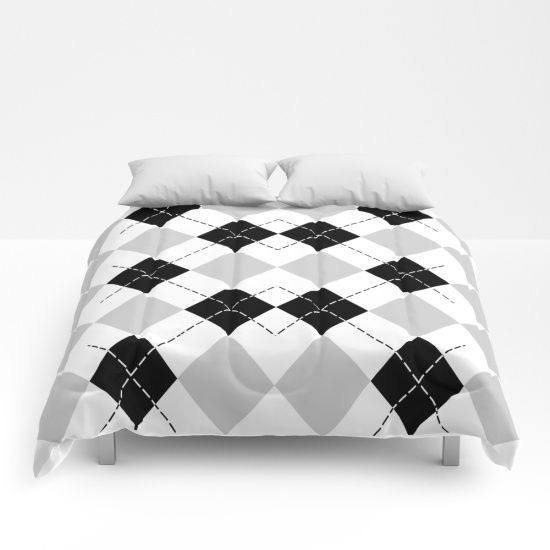 Black White and Gray Argyle Comforter