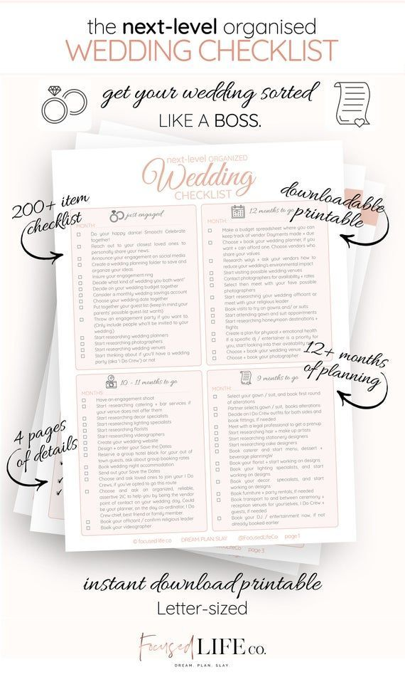 Detailed Wedding Checklist Printable | Wedding To Do List | Wedding Checklist Timeline | Wedding Checklist Pdf | Wedding Planning  Checklist