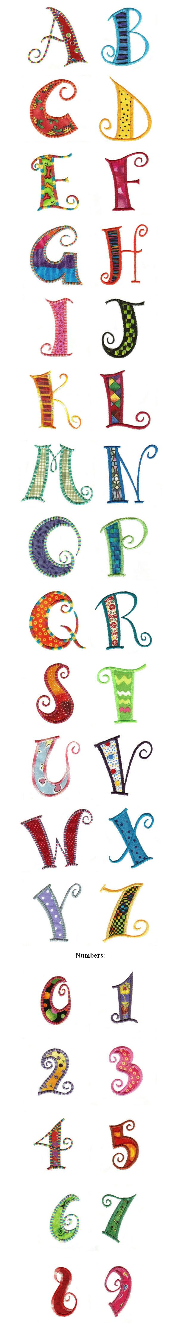 Portaoggetti Design Letters Numbers : Curly q applique letters and numbers fonts