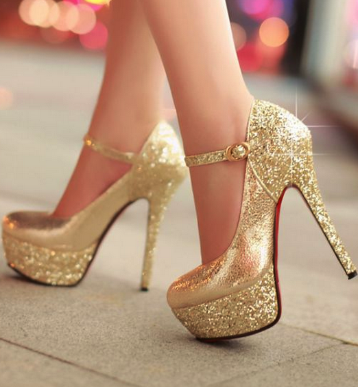 Gold high heels shoes