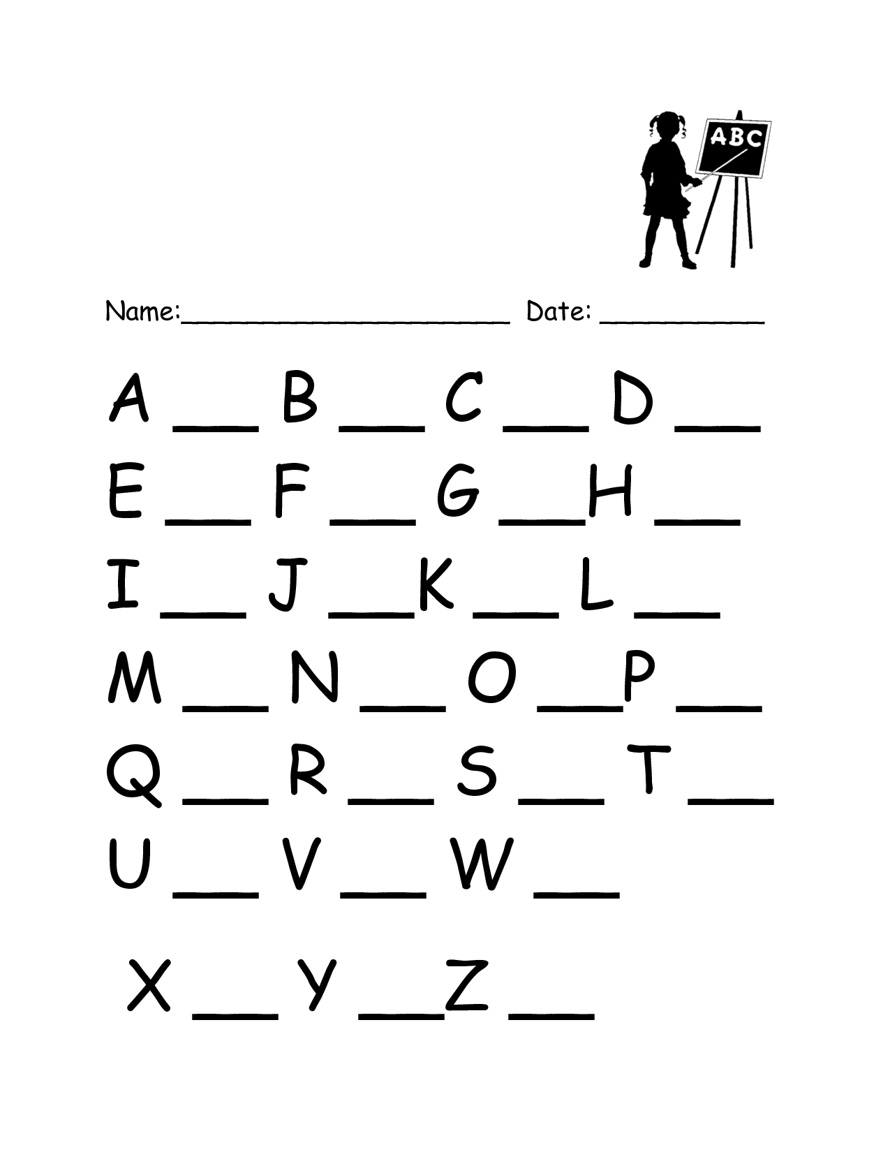 Writing Worksheets Alphabet Assessment