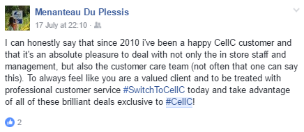 Screenshot from one of our #CellC influencers. #InfluencerMarketing #WordOfMouthAdvertising #theSALT #SwitchToCellC