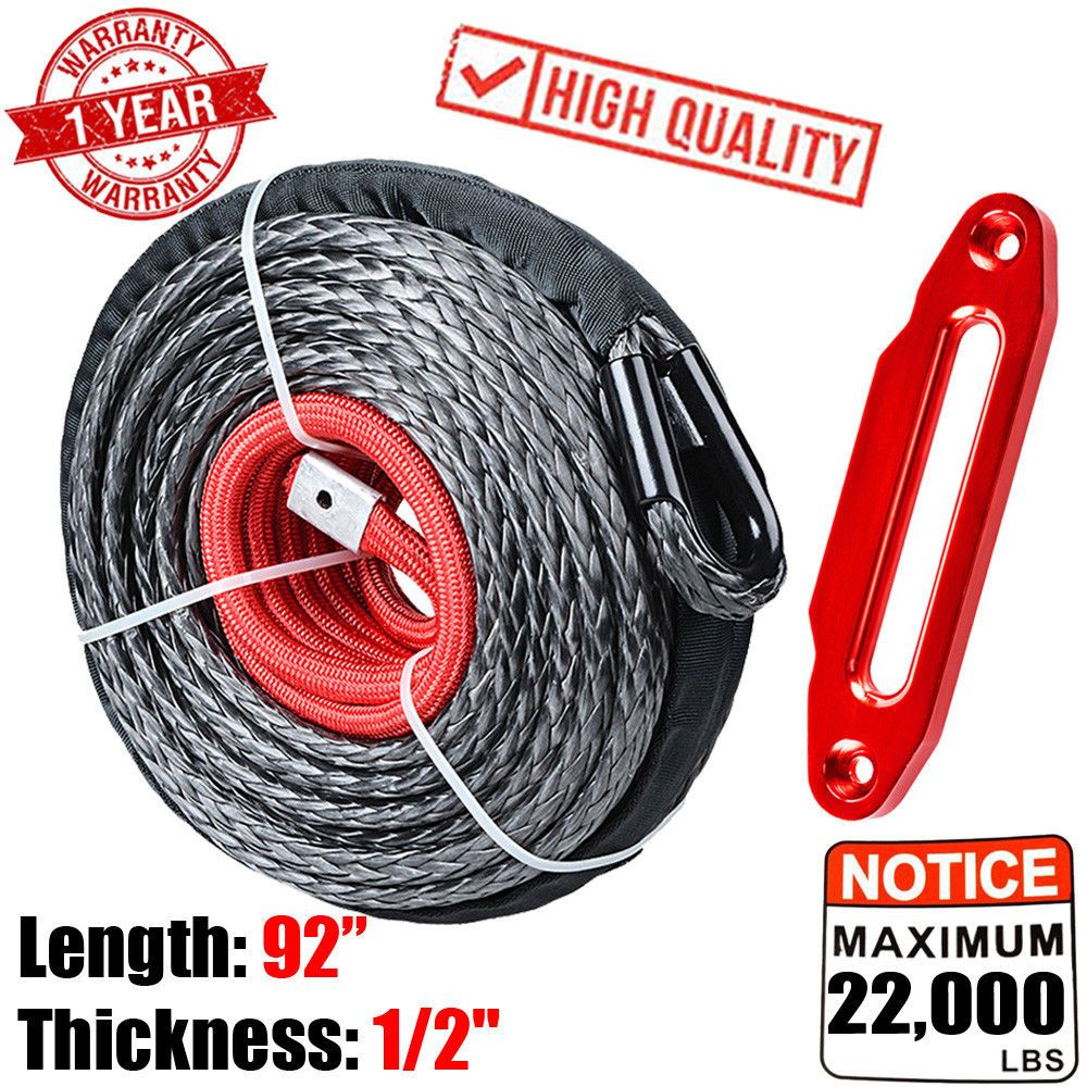 1 2 X 92 22000lbs Synthetic Winch Rope Cable Lead Guide Red Hawse Fairlead Synthetic Winch Rope Winch Rope Winch