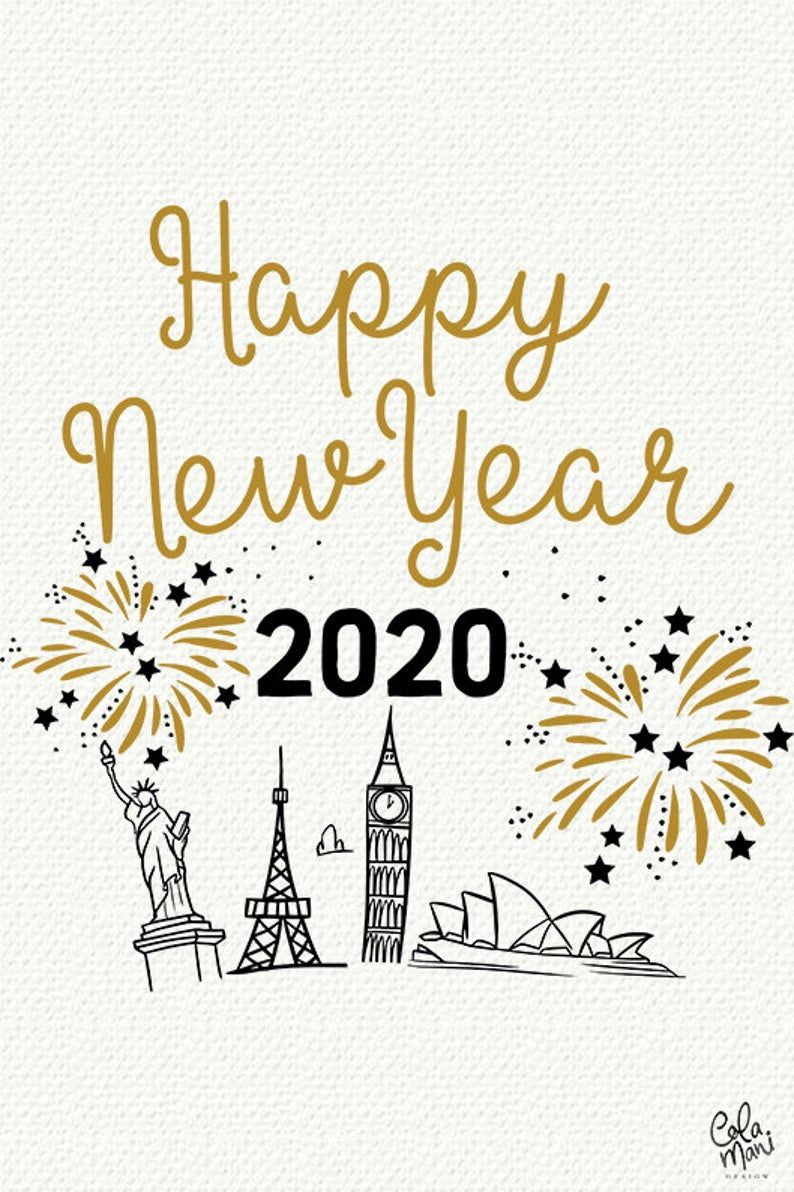 Happy New Year 2020 SVG DXF PNG, New Year's Eve, Hand