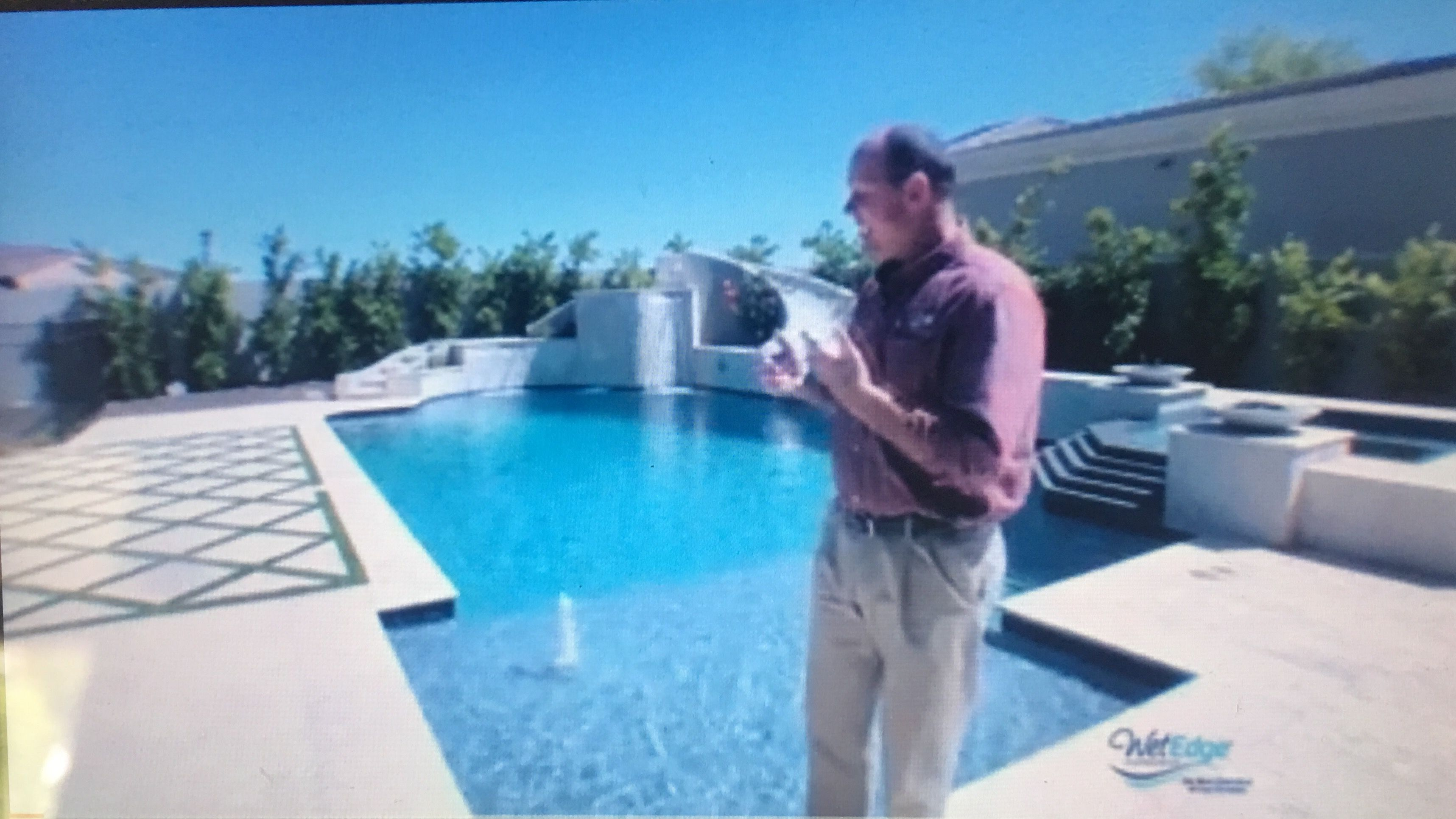 Pool W Diamond Pattern Concrete Slabs W Grass Between