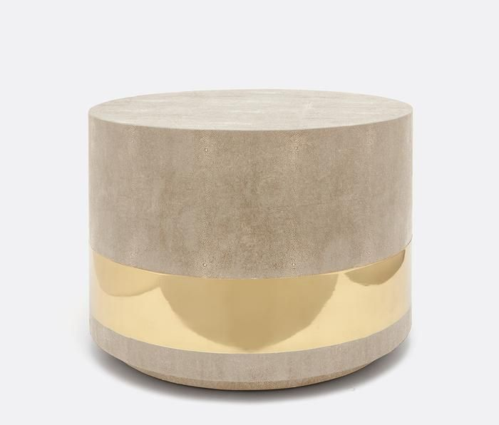 Maxine Coffee Table Brass and Sand Faux Shagreen is part of Cool Home Accessories Coffee Tables - Elegant and round, the Maxine Coffee Table in Sand from Made Goods showcases a faux shagreen texture and a wide band of polished brass  A modern side table like the Maxine adds a chic ambiance to living room decor  Imagine this beautiful coffee table with a vase of your favorite flowers, a special sculpture or a decorative box for remotes!