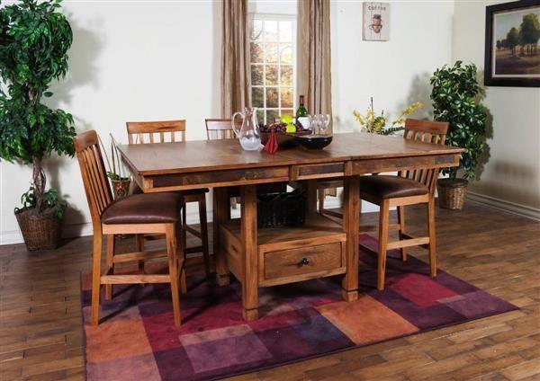 Sedona Rustic Oak Wood Butterfly Leaf Dining Room Set Wood