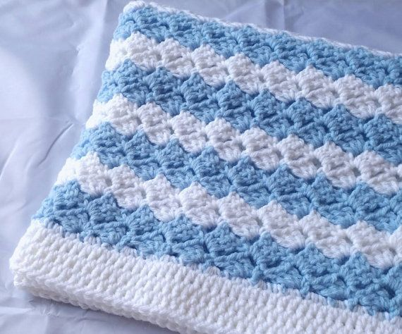 striped baby blanket blue white crochet car seat stroller crib afghan shower homecoming gift. Black Bedroom Furniture Sets. Home Design Ideas