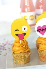tema-festa-infantil-midias-sociais-emoticon-cupcake