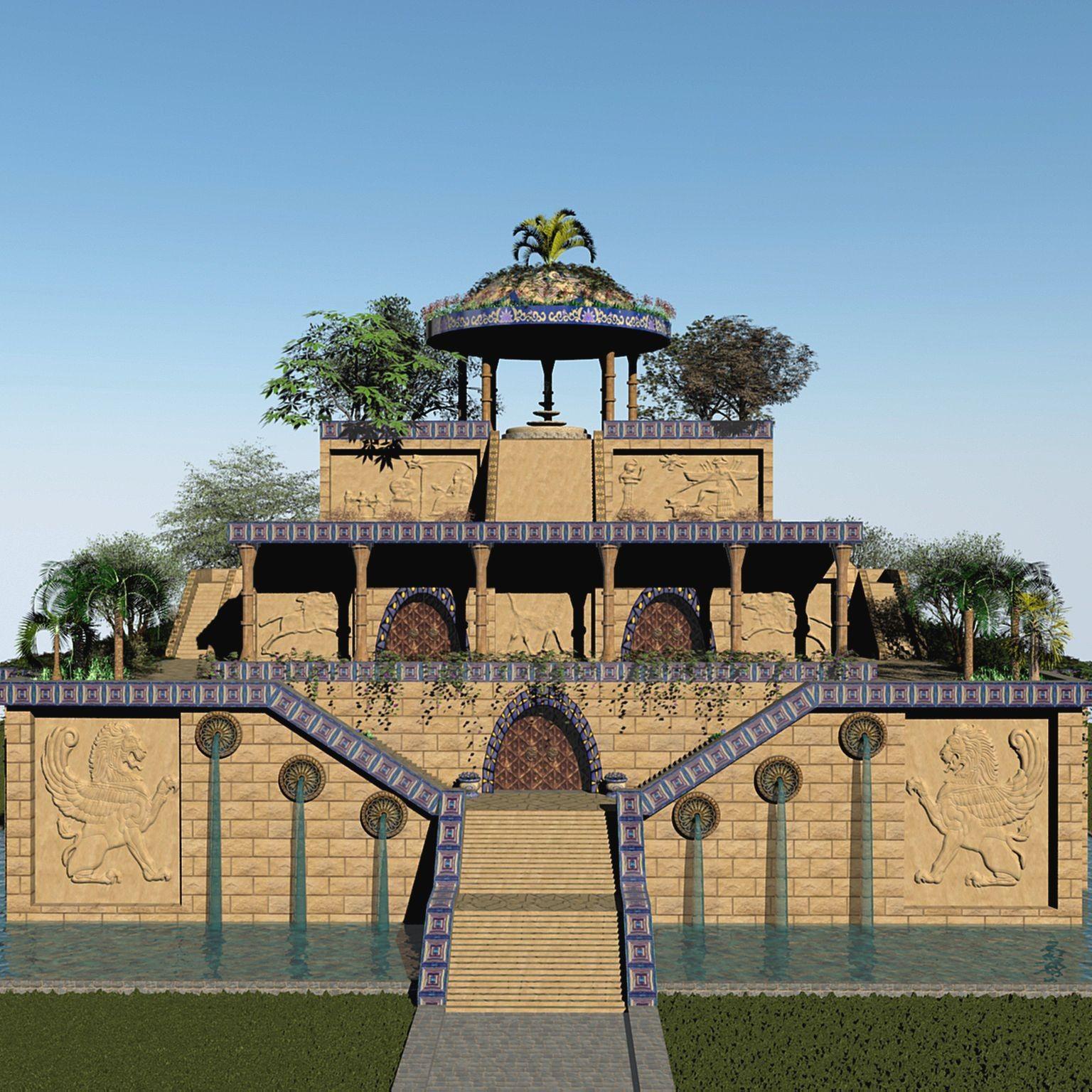 3d Hanging Gardens Babylon Plants Trees Model 3d Model Hanging Garden Gardens Of Babylon Babylon