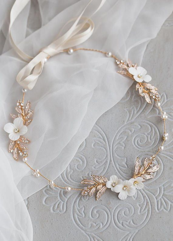Kollektion ♥Luxury Wedding♥: Haarkranz Rose Leaves -Farbe: ivory ...