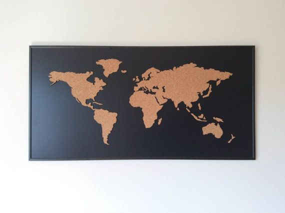Cork board world map by onefancychimney on etsy adam wendy house cork board world map black gumiabroncs Images