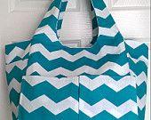Turquoise Chevron Craft Tote Bag Diaper Bag