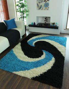 Cheap Soft Small X Large Thick Shag Pile Carpets Black Teal Shaggy Swirl Rugs Tapetes Tapetes Em Telagarca