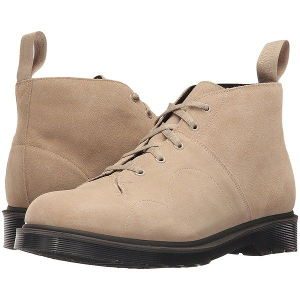 Dr. Martens Church 5-Eye Monkey Boot (Milkshake/Hi Suede WP) Men's... ($65)  ❤ liked on Polyvore featuring men's fashion, men's shoes, men's boots,  beige, ...