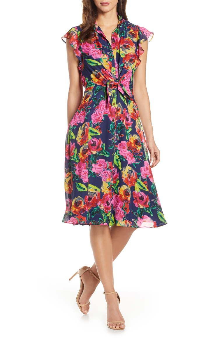 What To Wear To A May Wedding Guest Dresses For May Weddings Chiffon Midi Dress Nordstrom Dresses Wedding Guest Floral Print Chiffon [ 1157 x 755 Pixel ]