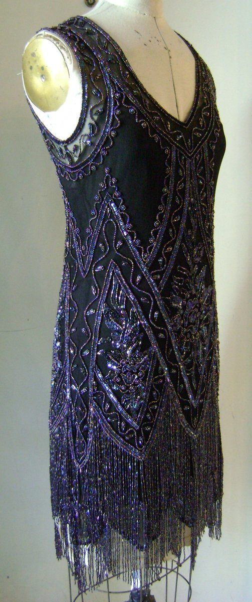 The Charleston Black with Iridescent Beads The Charleston beaded 1920s dress twenties dress flapper dress wedding dress reproduction dress 399.99 : Beaded 1920s Style Gowns, Art Deco Gowns, 20s Flapper Fringe Dresses, Vintage Daywear, Hollywood Reproductions..... from LeLuxe Clothing