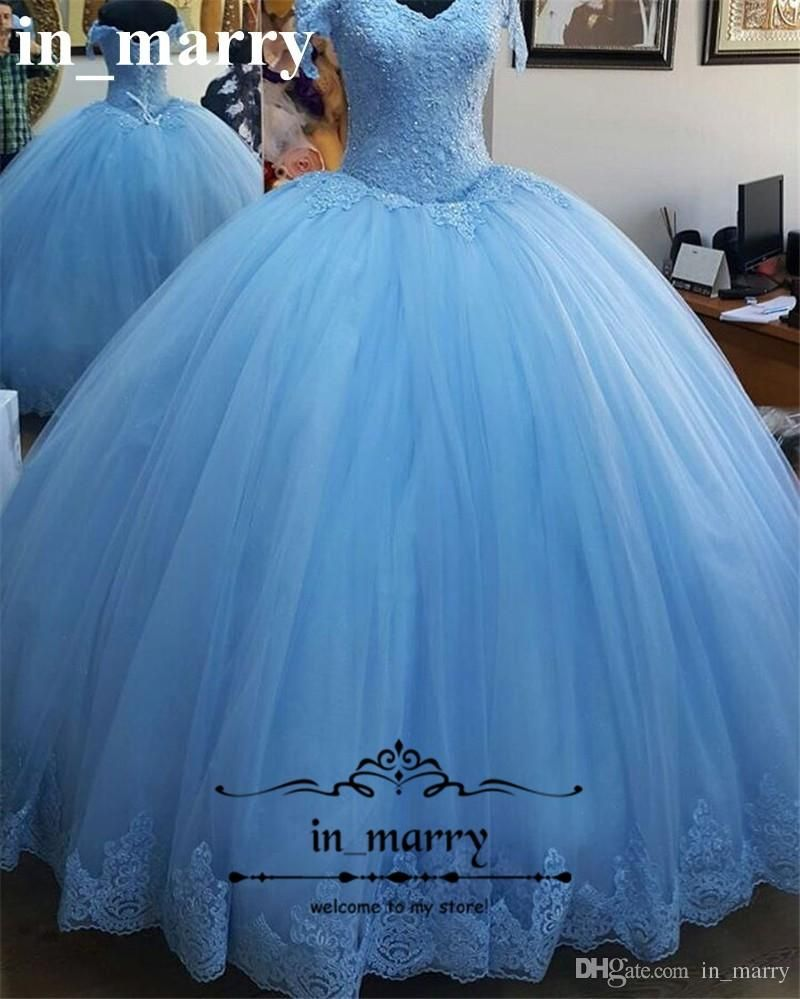Cheap princess blue ball gown quinceanera prom dresses real