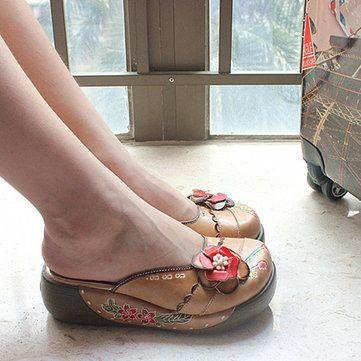 Sandales En Cuir Floral Socofy NMXIcPZ9