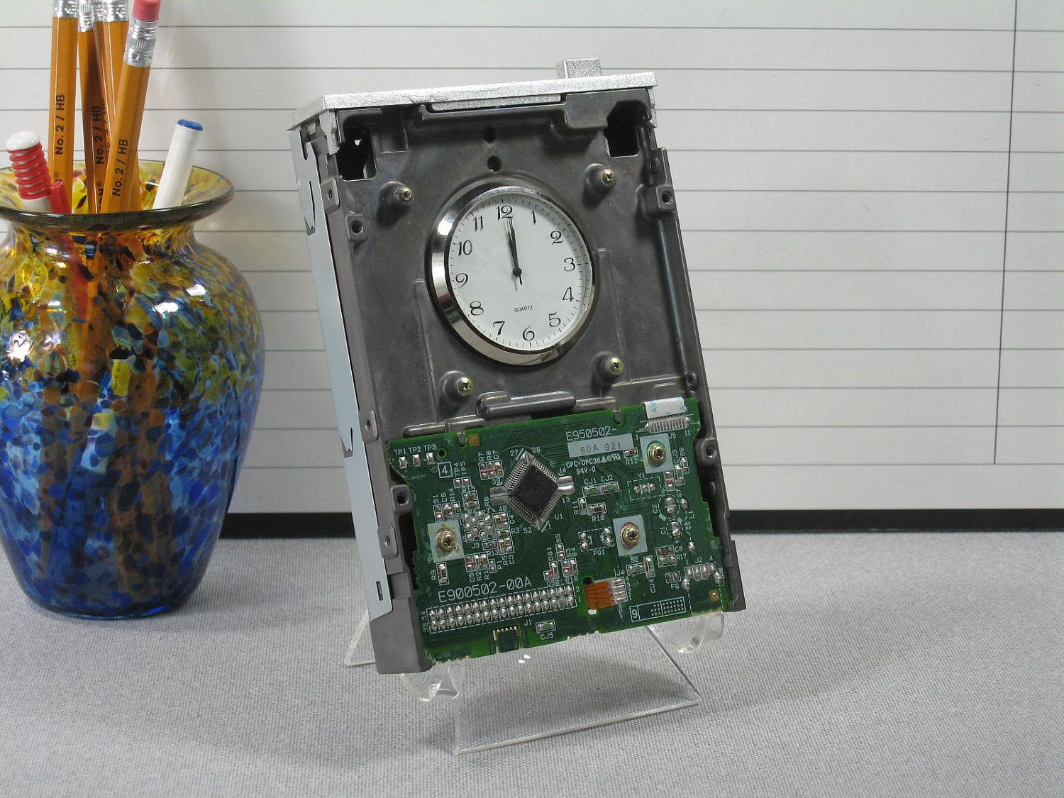 Handmade Upcycled Desk Clock Old Teac Floppy Drive Home Decor Office Pcb Sculptures Artist Upcycles Circuit Boards Into Art Clocks By Dano Via Etsy