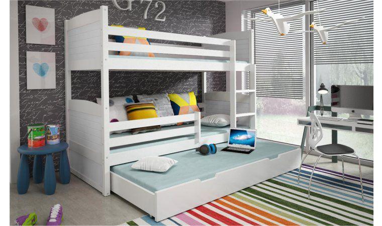 lit enfant superpose avec troir sasha en bois blanc chambre enfant pinterest lit enfant. Black Bedroom Furniture Sets. Home Design Ideas