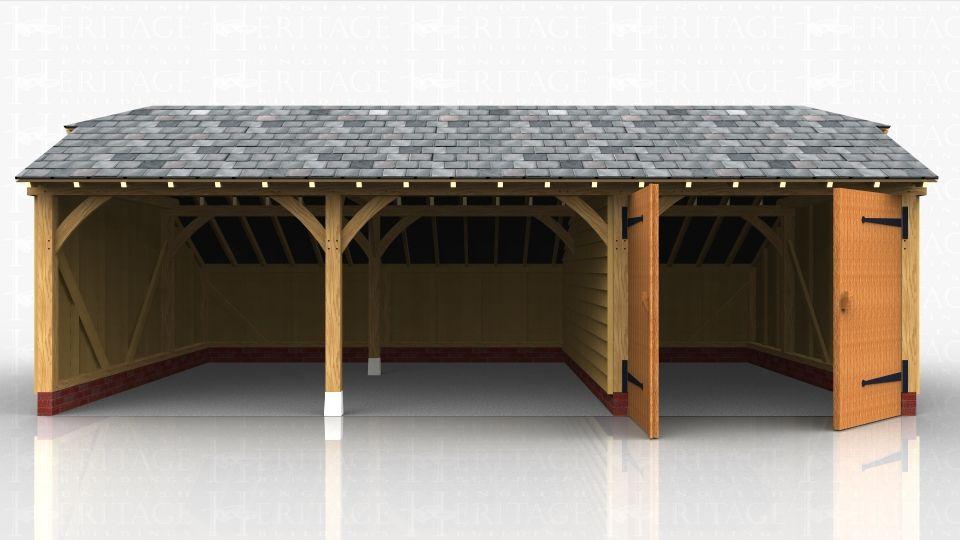 Best 3 Bay Oak Frame Garage Slate Roof Garage Roof Garage 400 x 300