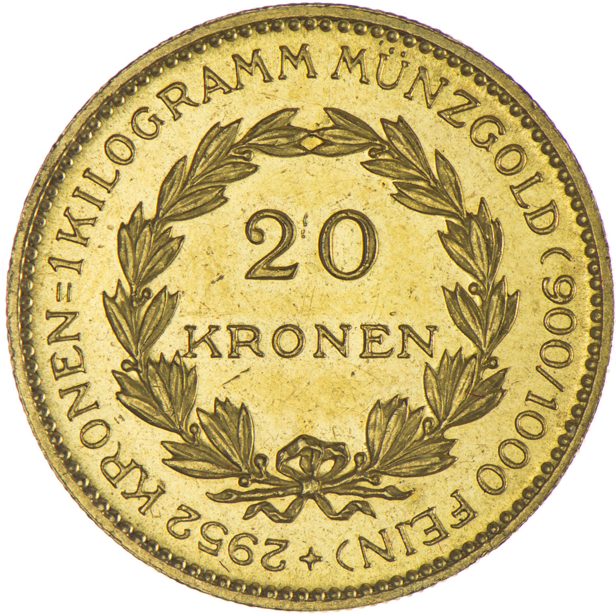 1. Republik-Bundesstaat 1918 - 1938 20 Kronen 1924 Gold, sogenannte Zollkrone