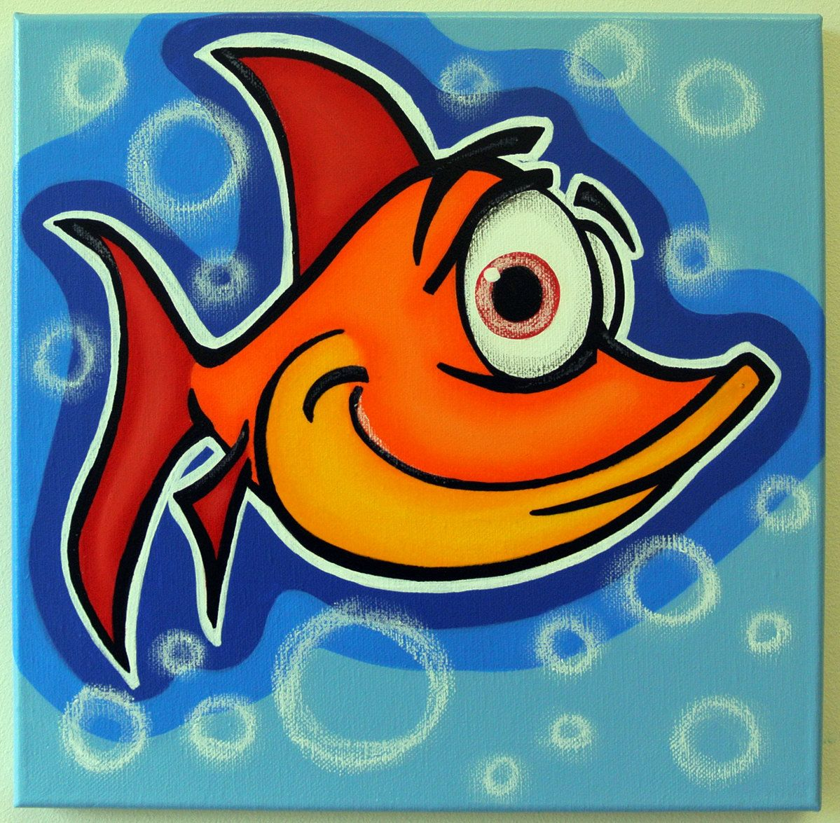 Orange fish 12x12 original acrylic painting on canvas for Fish for toddlers