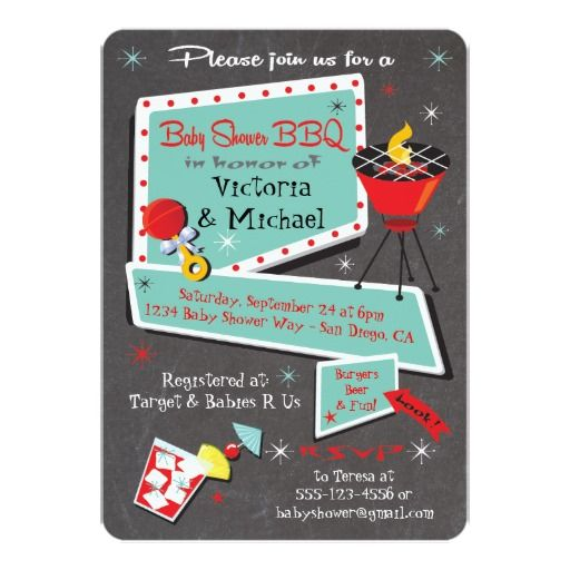 Retro Chalkboard Couples Baby Shower Barbecue Party Invitations  Super cute and so retro! Celebrate the arrival of the new baby with a mid-century modern feel invitation. Aqua and red accents with red barbecue grill, retro signs and fonts with a cocktail and red rattle all on a chalkboard background. Great for the couple who wants an outdoor party. Hand drawn illustration by McBooboo.
