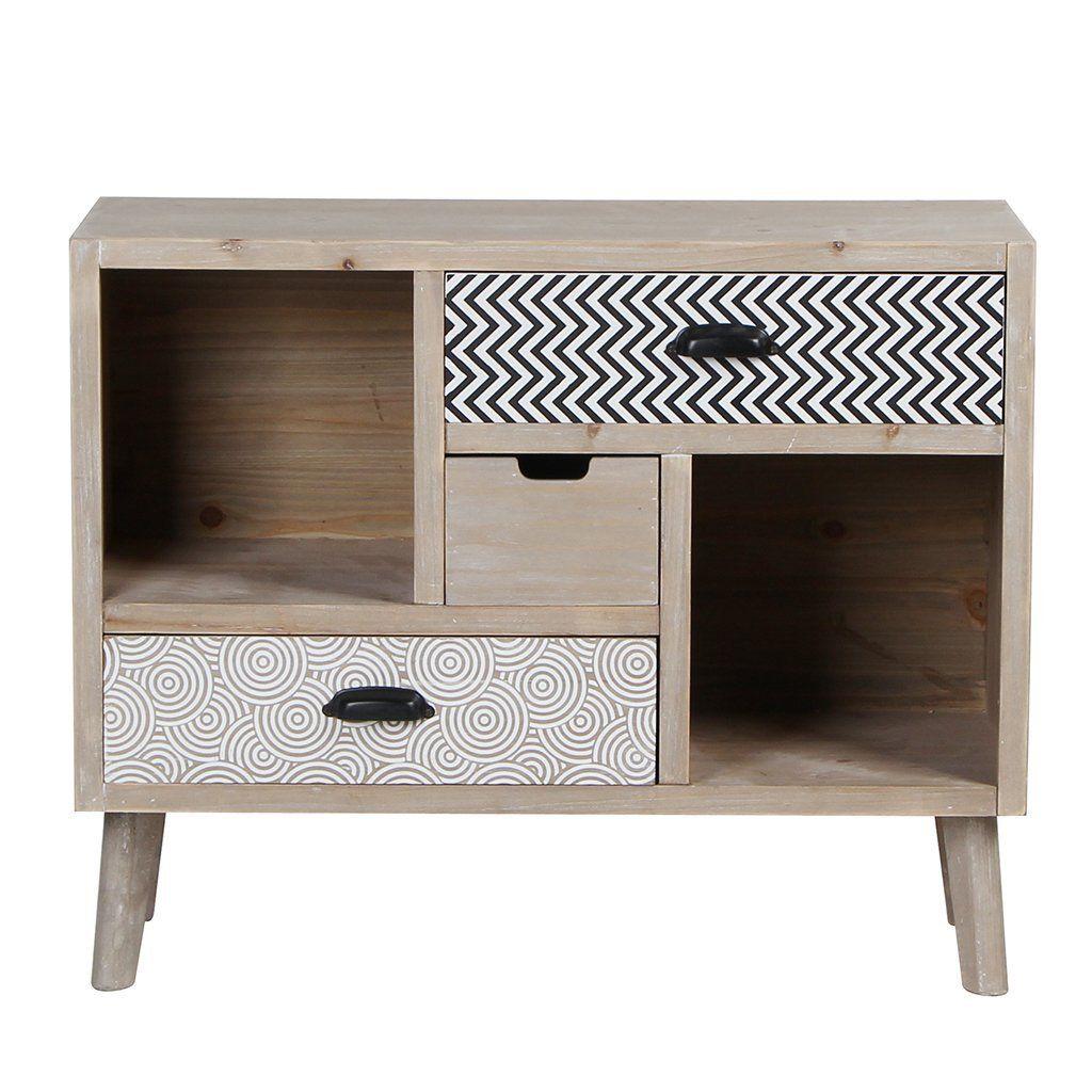 VIVA HOME Cassettiera in legno, 80 x 35 x 65 cm, Credenza ...
