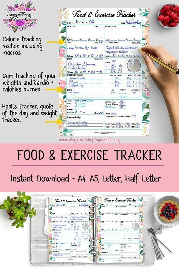 #Calorie #daily #diary #Exercise #FITNESS #Food #Journal #Log #meal #Planner #Printable #tracker Pla...