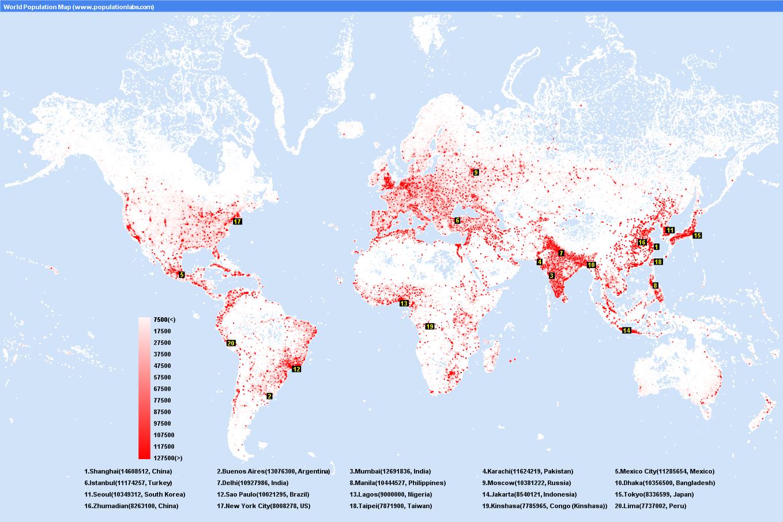 World Population Map City maps, World population, Map