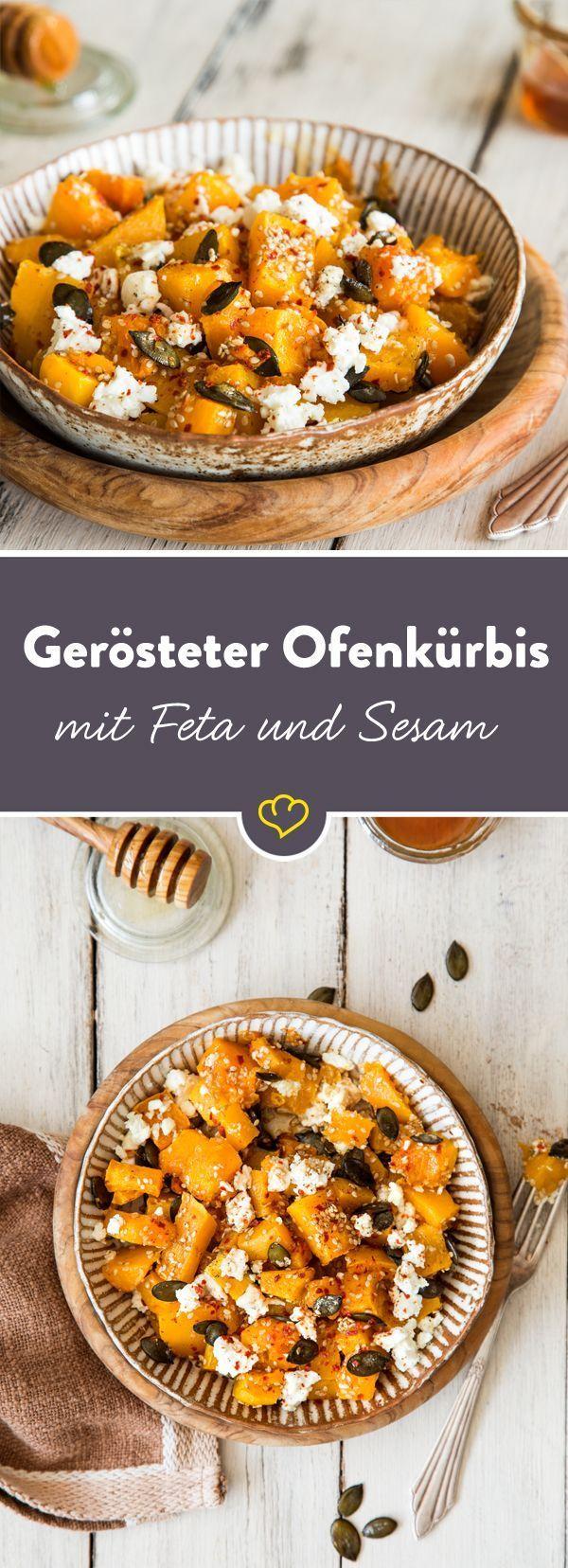 Herbst vom Blech: Gerösteter Ofenkürbis mit Feta und Sesam -