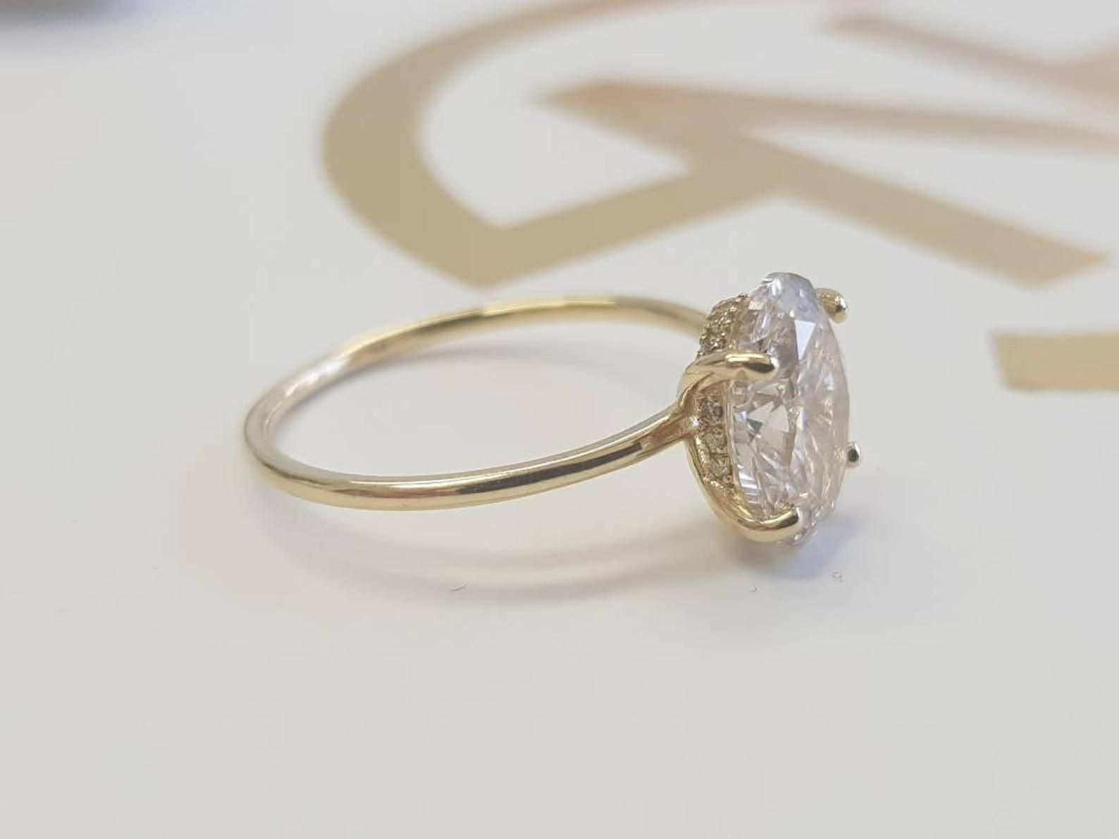 1 Carat Oval Diamond Engagement Ring Hidden Halo 14k Yellow Etsy Oval Diamond Engagement Ring Solitaire Engagement Ring Oval Diamond Engagement