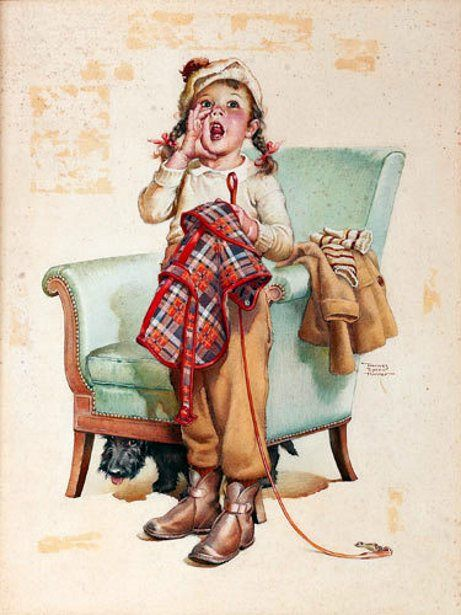 Here Boy! – Young Girl Calling For Her Dog   Frances Tipton Hunter (1896 – 1957, American