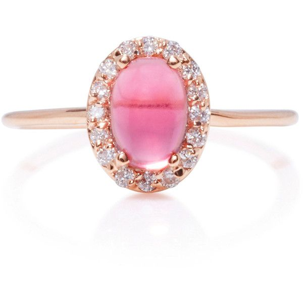 Marlo Laz 14K Rose Gold Diamond and Tourmaline Ring 1020