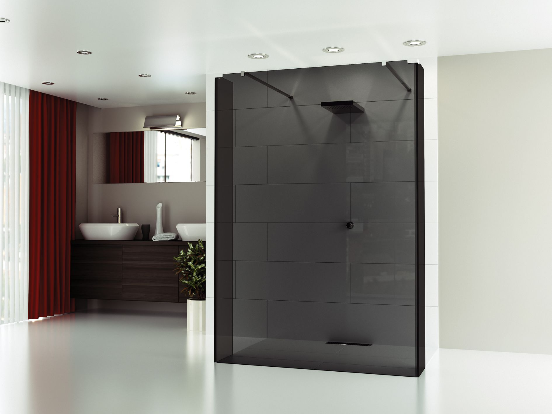 Merlyn 8 series sliding door amp inline panel - This Sophisticated Shower Wall Is From The New Glass By Merlyn Collection With Gorgeous Black Smoked Glass It Will Give The Bathrooms A Real Wow