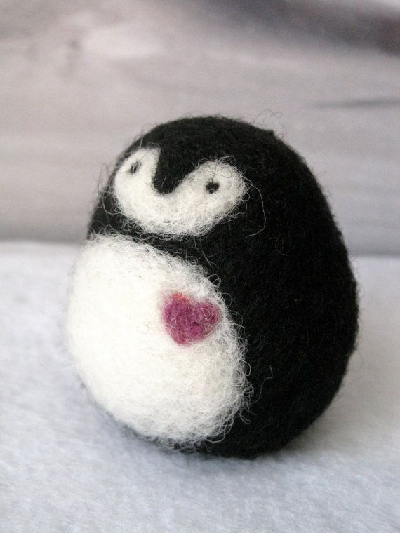 Needle Felted Penguin with Heart Stocking Stuffer by Woolnimals