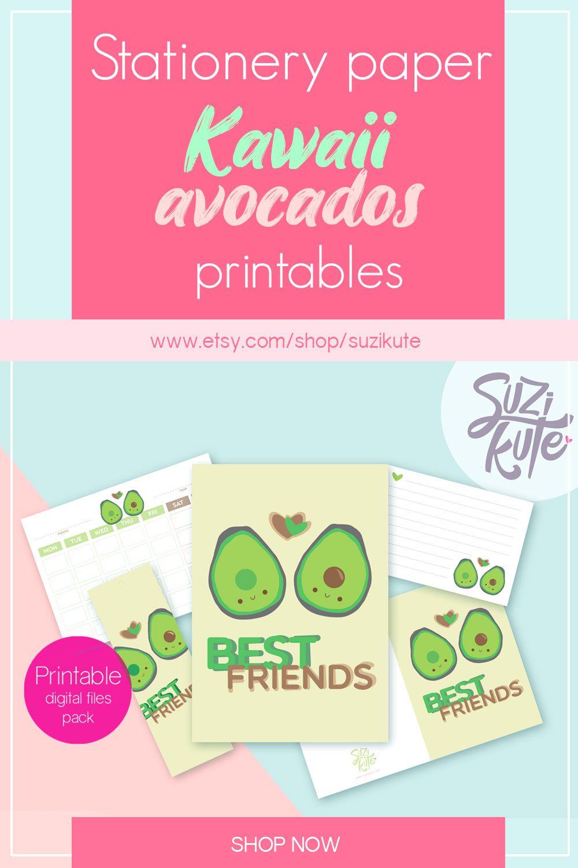 Cute avocado stationery paper printable, kawaii monthly