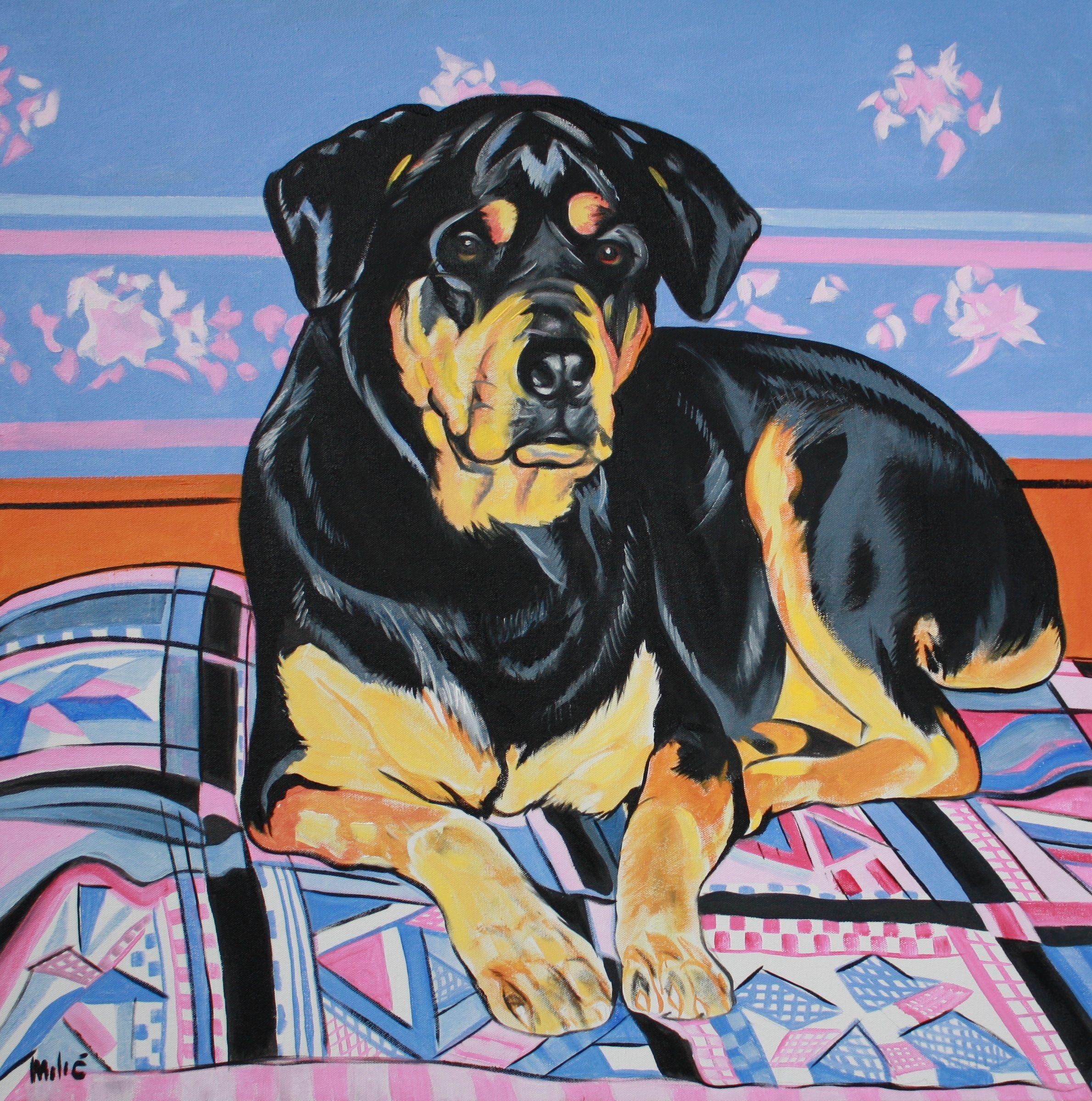 "Susan' Dog 30x30"" Oil Canvas Dragoslav Milic-drago"