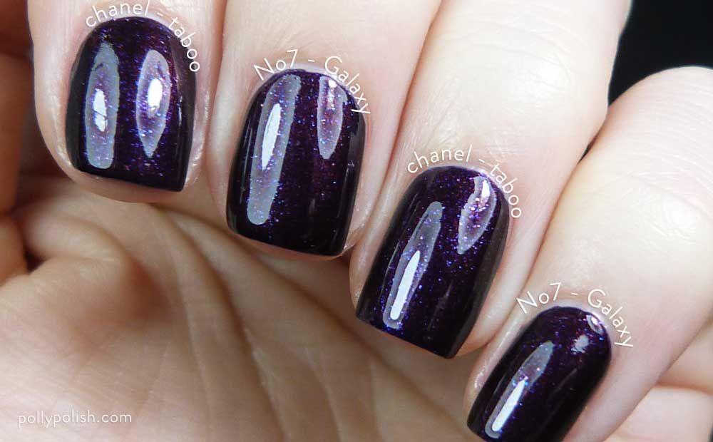 Chanel Taboo Comparison With No7 Galaxy Nail Polish On Pollypolish Com Galaxy Nails Nail Designs Nail Polish Dupes
