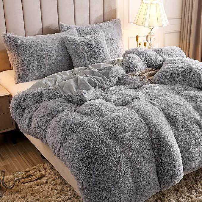 Amazon Com Uhamho Faux Fur Velvet Fluffy Bedding Duvet Cover Set Down Comforter Quilt Cover With Pillow Shams Ultra In 2021 Fluffy Bedding Fluffy Duvet Bedding Sets
