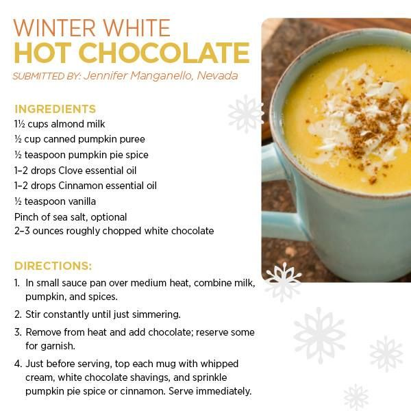 Winter White Hot Chocolate with essential oils.